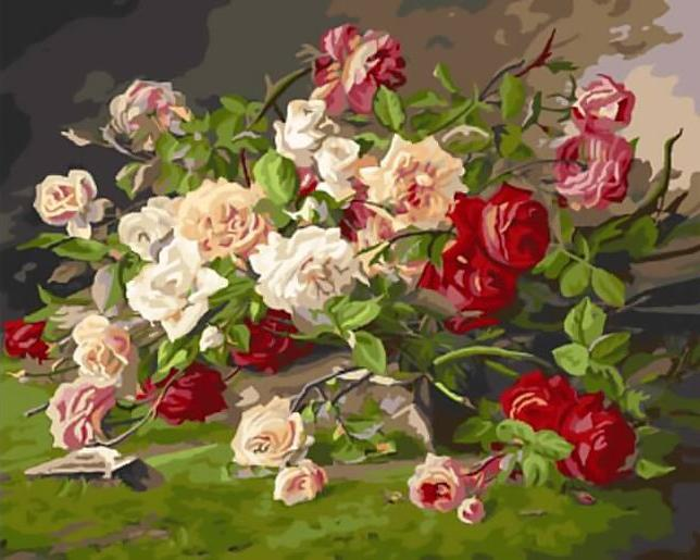 «Королевские розы» Эжена Анри КошуаЦветной (Standart)<br><br><br>Артикул: GX9726_Z<br>Основа: Холст<br>Сложность: сложные<br>Размер: 40x50 см<br>Количество цветов: 25<br>Техника рисования: Без смешивания красок