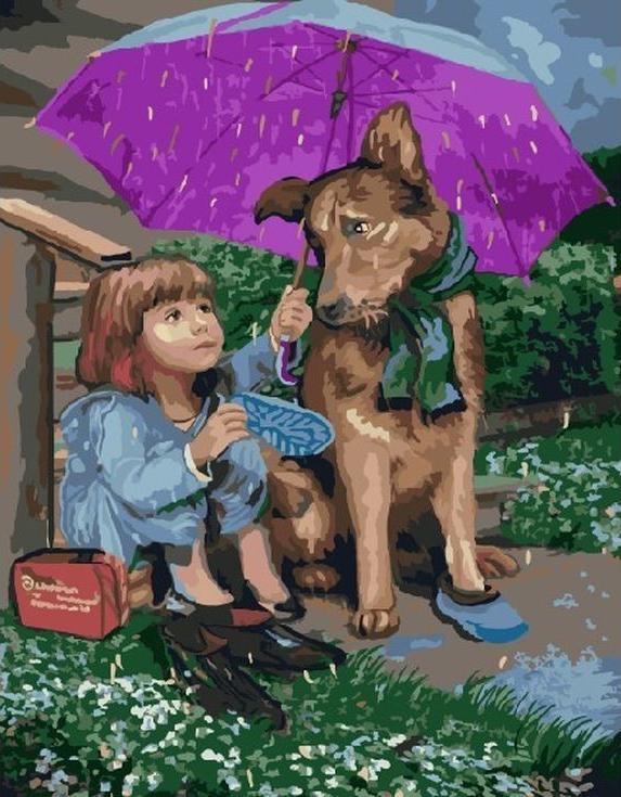 Картина по номерам «Под дождем» Бориса АджиеваЦветной (Standart)<br><br>