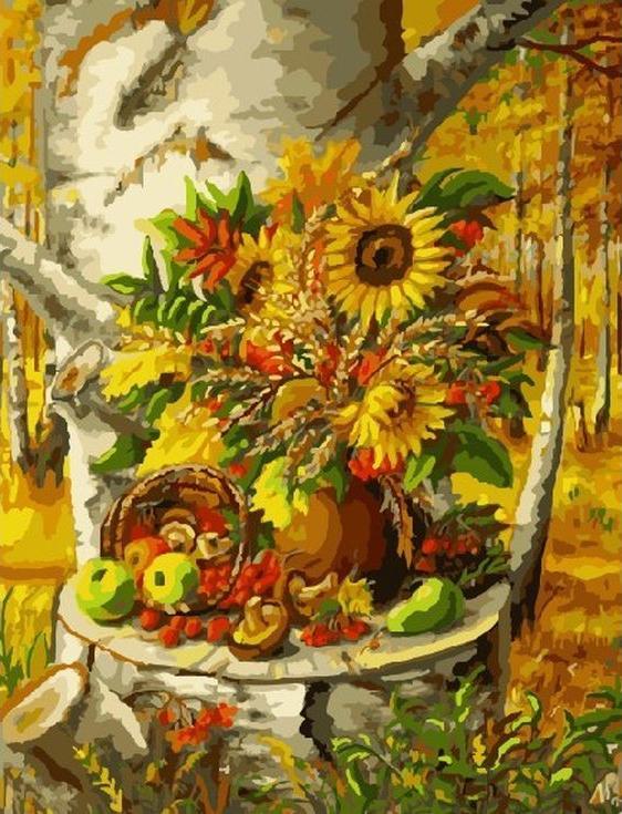 «Осенний натюрморт»Цветной (Standart)<br><br><br>Артикул: GX9728_Z<br>Основа: Холст<br>Сложность: сложные<br>Размер: 40x50 см<br>Количество цветов: 25<br>Техника рисования: Без смешивания красок