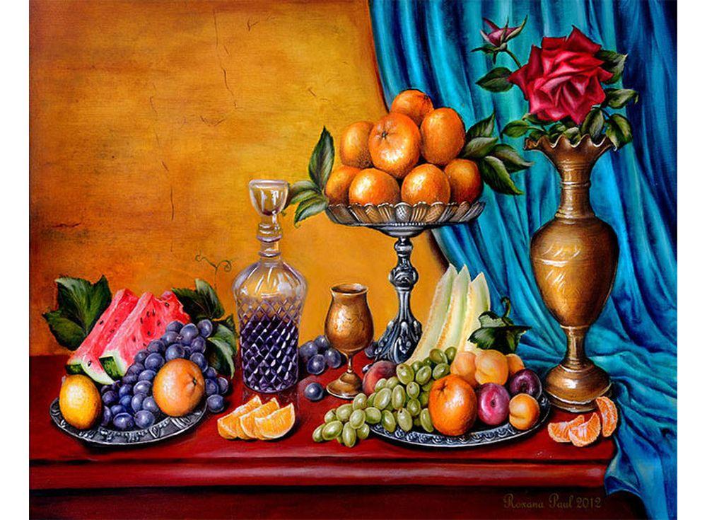«Натюрморт с фруктами» Роксаны ПолЦветной (Standart)<br><br><br>Артикул: GX9730_Z<br>Основа: Холст<br>Сложность: сложные<br>Размер: 40x50 см<br>Количество цветов: 25<br>Техника рисования: Без смешивания красок