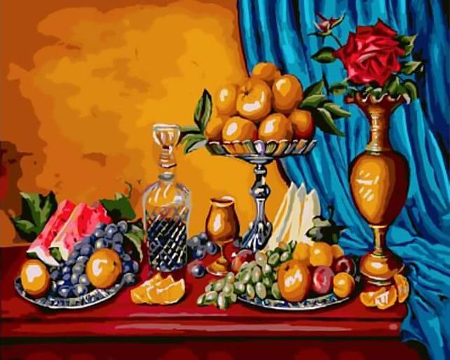 Картина по номерам «Натюрморт с фруктами» Роксаны ПолЦветной (Standart)<br><br><br>Артикул: GX9730_Z<br>Основа: Холст<br>Сложность: сложные<br>Размер: 40x50 см<br>Количество цветов: 25<br>Техника рисования: Без смешивания красок