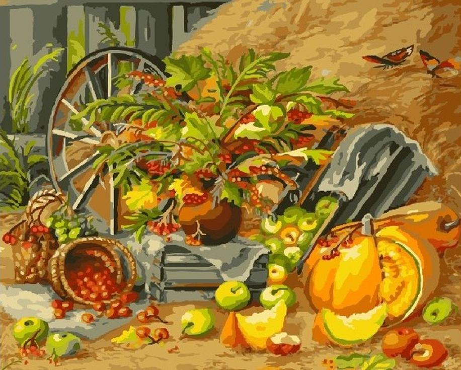 Картина по номерам «Дары осени»Цветной (Standart)<br><br><br>Артикул: GX9731_Z<br>Основа: Холст<br>Сложность: сложные<br>Размер: 40x50 см<br>Количество цветов: 25<br>Техника рисования: Без смешивания красок