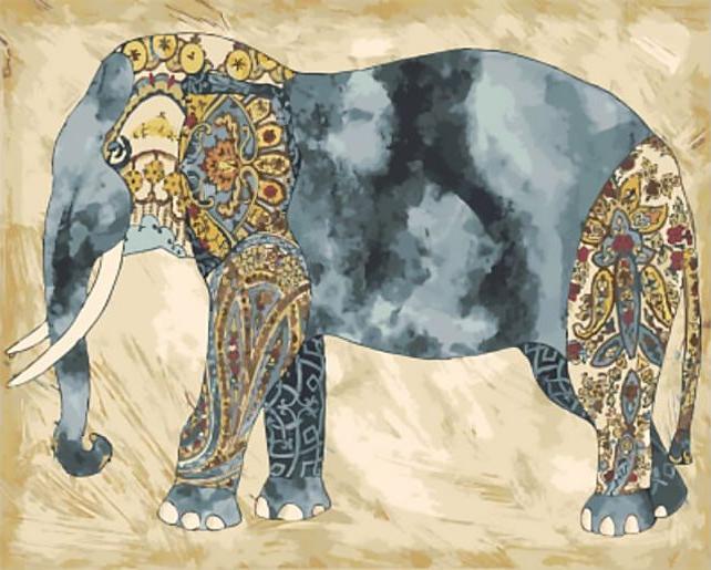 «Слон»Цветной (Standart)<br><br><br>Артикул: GX9747_Z<br>Основа: Холст<br>Сложность: сложные<br>Размер: 40x50 см<br>Количество цветов: 25<br>Техника рисования: Без смешивания красок