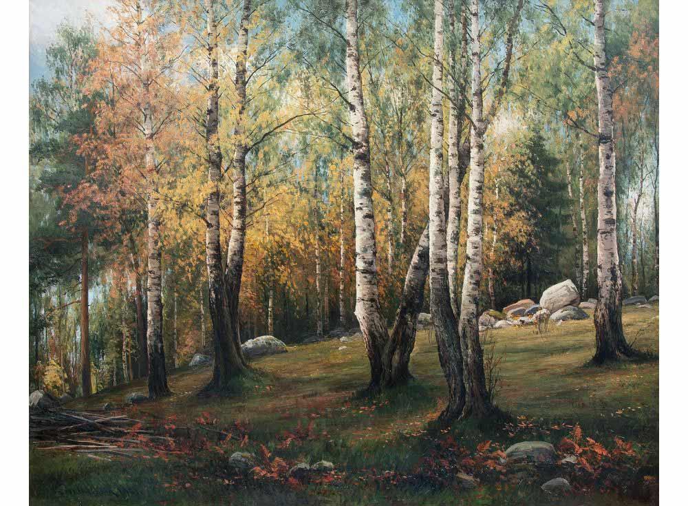 «Осенний пейзаж» Торстена ВаенербергаЦветной (Standart)<br><br><br>Артикул: GX9750_Z<br>Основа: Холст<br>Сложность: сложные<br>Размер: 40x50 см<br>Количество цветов: 25<br>Техника рисования: Без смешивания красок
