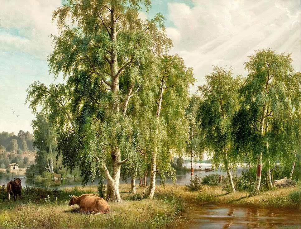 Картина по номерам «Летний пейзаж» Георга Хенрик фон ВригтаРаскраски по номерам Paintboy (Original)<br><br><br>Артикул: GX9912_R<br>Основа: Холст<br>Сложность: средние<br>Размер: 40x50 см<br>Количество цветов: 27<br>Техника рисования: Без смешивания красок