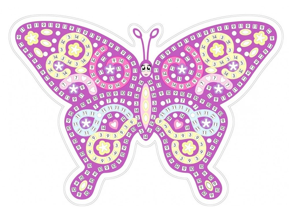 Мозаика из стикеров «Сиреневая бабочка»Мозаика из стикеров<br><br><br>Артикул: HD002<br>Основа: Картон<br>Размер: 27x39 см