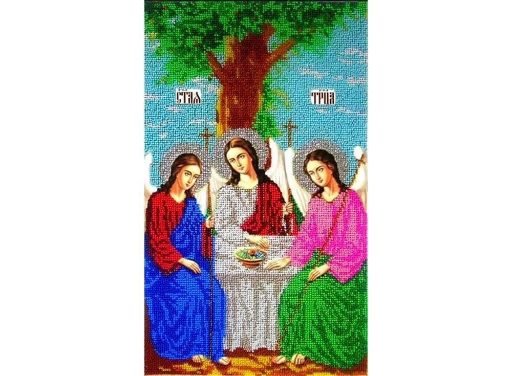 Набор вышивки бисером «Святая Троица»Вышивка бисером Вышиваем бисером<br><br><br>Артикул: L-33<br>Основа: ткань<br>Размер: 22x36 см<br>Техника вышивки: бисер<br>Тип схемы вышивки: Цветная схема<br>Рисунок на канве: нанесена схема<br>Техника: Вышивка бисером