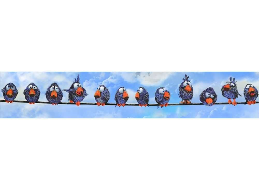 Набор вышивки бисером «Воробьи»Вышивка бисером Вышиваем бисером<br><br><br>Артикул: L-49<br>Основа: ткань<br>Размер: 112х19 см<br>Техника вышивки: бисер<br>Тип схемы вышивки: Цветная схема<br>Рисунок на канве: нанесена схема<br>Техника: Вышивка бисером