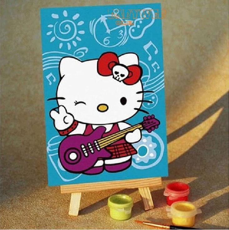 «Kitty с гитарой»Цветной (Premium)<br>Спанч боб<br><br>Артикул: MA020_Z<br>Основа: Картон<br>Сложность: легкие<br>Размер: 10x15<br>Количество цветов: 5<br>Техника рисования: Без смешивания красок