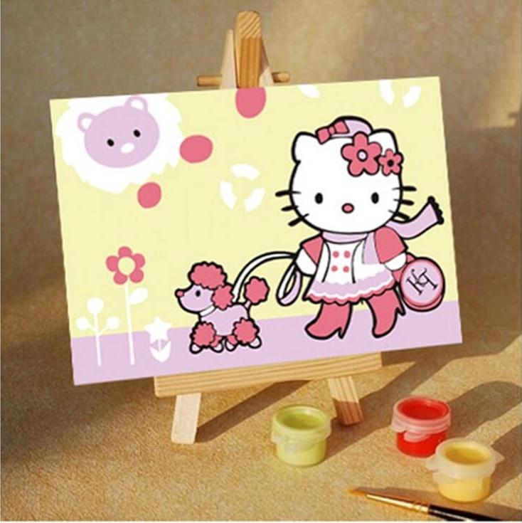 «Hello Kitty. На прогулке»Цветной (Premium)<br>Спанч боб<br><br>Артикул: MA119_Z<br>Основа: Картон<br>Сложность: легкие<br>Размер: 10x15<br>Количество цветов: 5<br>Техника рисования: Без смешивания красок