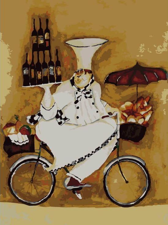 Картина по номерам «Повар на велосипеде» Дженнифер ГарантЦветной (Premium)<br><br><br>Артикул: ME1044_Z<br>Основа: Холст<br>Сложность: сложные<br>Размер: 30x40 см<br>Количество цветов: 25<br>Техника рисования: Без смешивания красок
