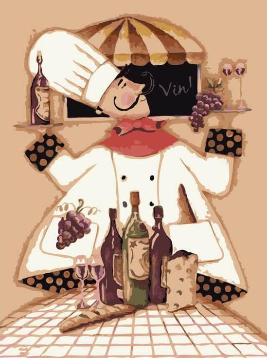 «Повар и вино» Дженнифер ГарантЦветной (Premium)<br><br><br>Артикул: ME1046_Z<br>Основа: Холст<br>Сложность: сложные<br>Размер: 30x40 см<br>Количество цветов: 25<br>Техника рисования: Без смешивания красок