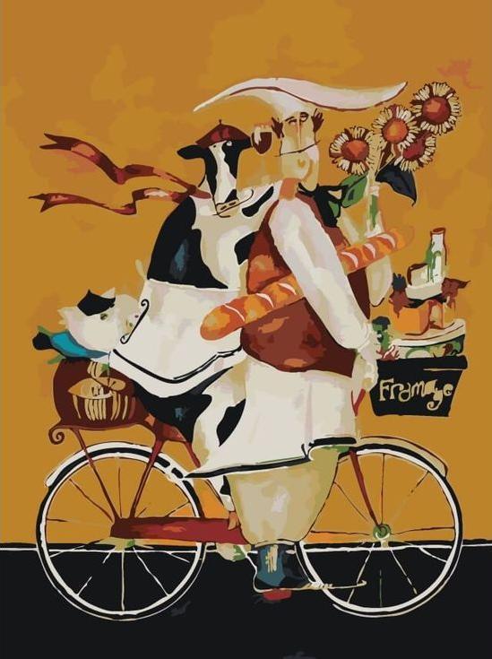 Картина по номерам «Повар и корова на велосипеде» Дженнифер ГарантЦветной (Premium)<br><br><br>Артикул: ME1048_Z<br>Основа: Холст<br>Сложность: сложные<br>Размер: 30x40 см<br>Художник: Дженнифер Гарант<br>Количество цветов: 25<br>Техника рисования: Без смешивания красок