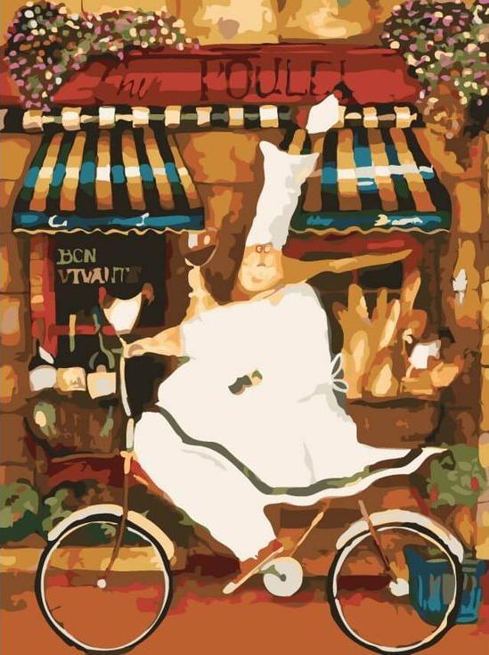 Картина по номерам «Веселый повар» Дженнифер ГарантЦветной (Premium)<br><br><br>Артикул: ME1052_Z<br>Основа: Холст<br>Сложность: сложные<br>Размер: 30x40 см<br>Количество цветов: 25<br>Техника рисования: Без смешивания красок