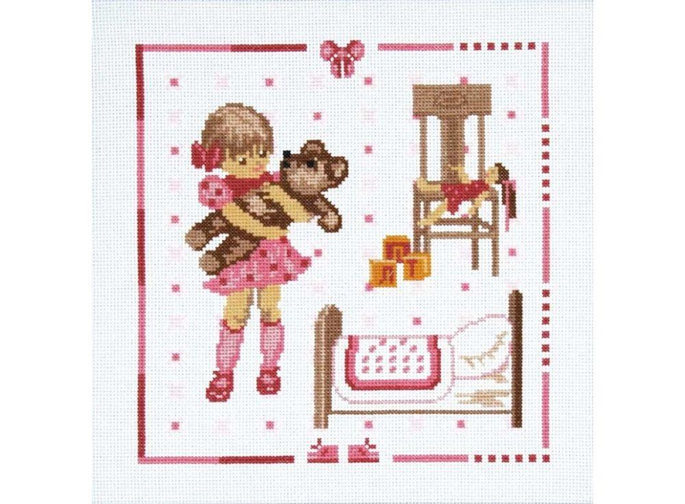 Набор для вышивания «Девочка с мишкой»Вышивка крестом Чарiвниця<br><br><br>Артикул: N-3001<br>Основа: канва Aida 14<br>Размер: 25х25 см<br>Техника вышивки: счетный крест<br>Тип схемы вышивки: Цветная схема<br>Цвет канвы: Белый<br>Заполнение: Частичное<br>Рисунок на канве: не нанесён<br>Техника: Вышивка крестом
