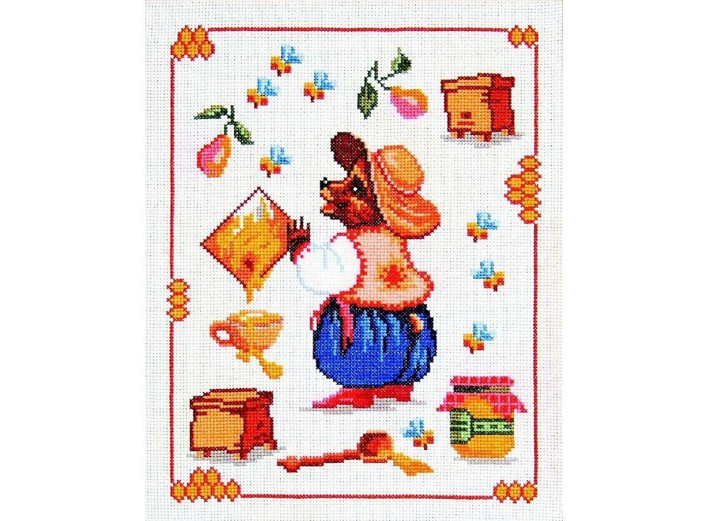 Набор для вышивания «Мишка-пасечник»Вышивка крестом Чарiвниця<br><br><br>Артикул: N-3008<br>Основа: канва Aida 14<br>Размер: 22х28 см<br>Техника вышивки: счетный крест<br>Тип схемы вышивки: Цветная схема<br>Цвет канвы: Белый<br>Заполнение: Частичное<br>Рисунок на канве: не нанесён<br>Техника: Вышивка крестом