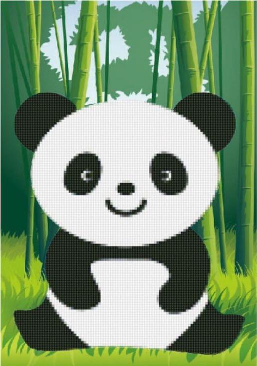 Алмазная вышивка «Веселая панда»Цветной<br><br><br>Артикул: X102<br>Основа: Холст без подрамника<br>Сложность: легкие<br>Размер: 17x22 см<br>Выкладка: Частичная<br>Количество цветов: 8-15<br>Тип страз: Круглые непрозрачные (акриловые)