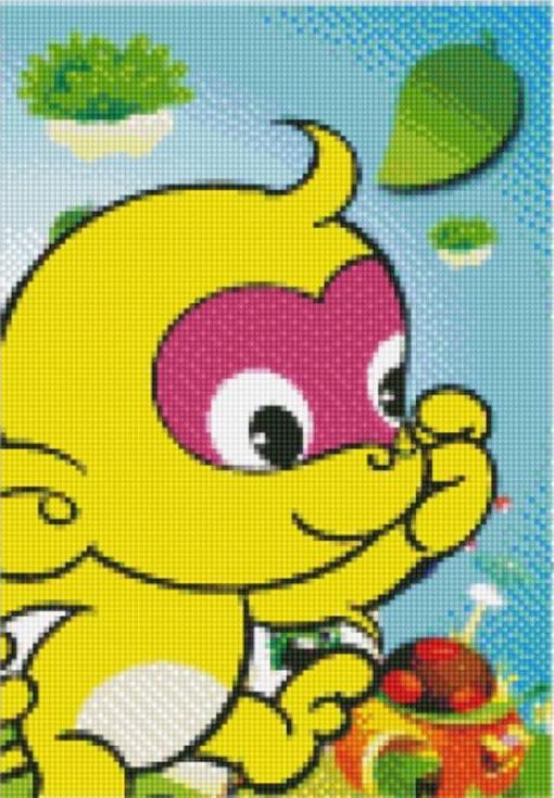 Стразы «Желтая обезьянка»Цветной<br><br><br>Артикул: X168<br>Основа: Холст без подрамника<br>Сложность: легкие<br>Размер: 17x22 см<br>Выкладка: Частичная<br>Количество цветов: 8-15<br>Тип страз: Круглые непрозрачные (акриловые)