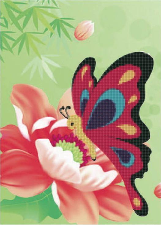 Стразы «Бабочка»Цветной<br><br><br>Артикул: X185<br>Основа: Холст без подрамника<br>Сложность: легкие<br>Размер: 17x22 см<br>Выкладка: Частичная<br>Количество цветов: 8-15<br>Тип страз: Круглые непрозрачные (акриловые)