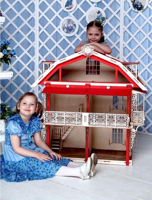 Конструктор «Большой дом для кукол»3D Конструкторы Lemmo<br>Большой кукольный дом ярко-красного цвета, высотою чуть меньше одного метра. Изящный, фасады окрашены в красный цвет и дополнены затейливыми вензелями. Стены можно покрасить самостоятельно любой краской или оклеить обоями. Очень просторный, подходит для р...<br><br>Артикул: 00-15<br>Вес: 10000 г<br>Размер готовой модели: 94x48x95 см<br>Материал: дерево (фанера)<br>Возраст: от 5 лет