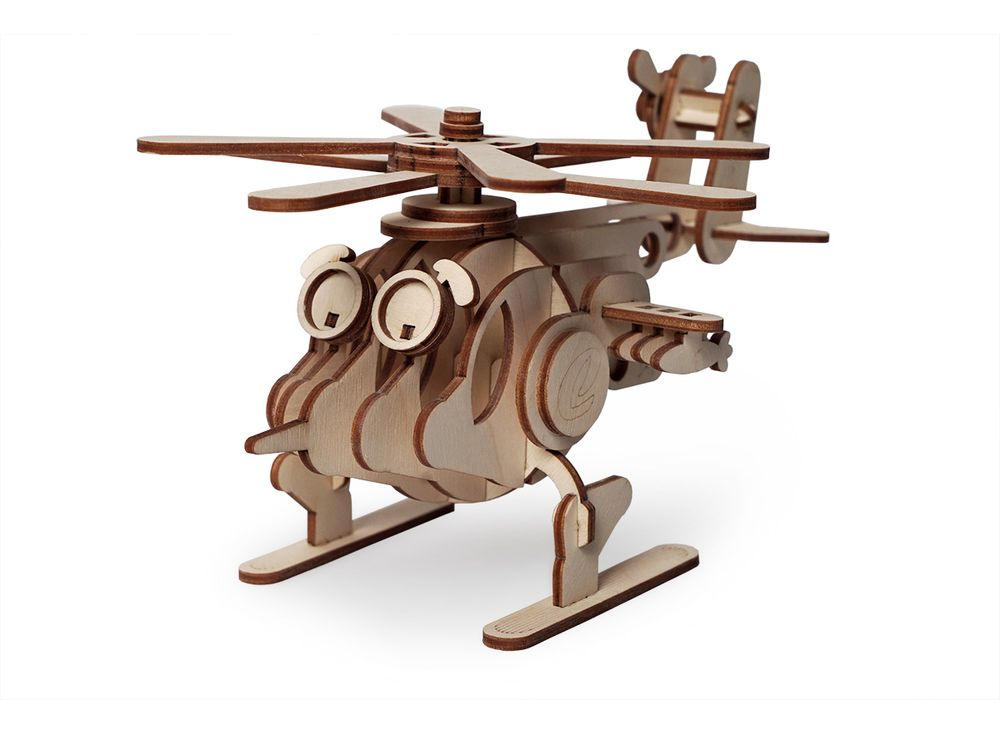 Конструктор «Вертолет Серж»3D Конструкторы Lemmo<br><br><br>Артикул: 00-56<br>Размер готовой модели: 21x15x11,5 см<br>Материал: дерево (фанера)<br>Возраст: от 5 лет