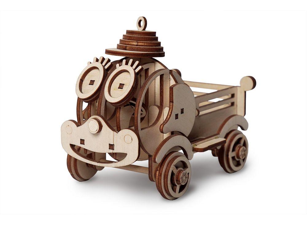 Конструктор «Грузовик Степа»3D Конструкторы Lemmo<br>Экологически чистые, развивающие конструкторы от российского производителя Lemmo помогут вашему ребенку развить мелкую моторику рук, воображение, пространственное мышление, логику и познакомят с предметным моделированием.<br> <br>Все детали выполнены из кач...<br><br>Артикул: 00-58<br>Размер готовой модели: 15,5x8,5x11 см<br>Материал: дерево (фанера)<br>Возраст: от 5 лет