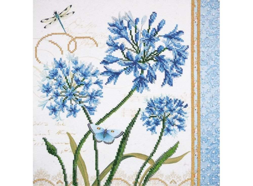 Набор  вышивки бисером «Голубые цветы»Вышивка бисером Овен<br><br><br>Артикул: 001-РТ<br>Основа: габардин<br>Размер: 30x30 см<br>Техника вышивки: бисер<br>Количество цветов: 8<br>Заполнение: Частичное<br>Рисунок на канве: нанесён рисунок и схема<br>Техника: Вышивка бисером