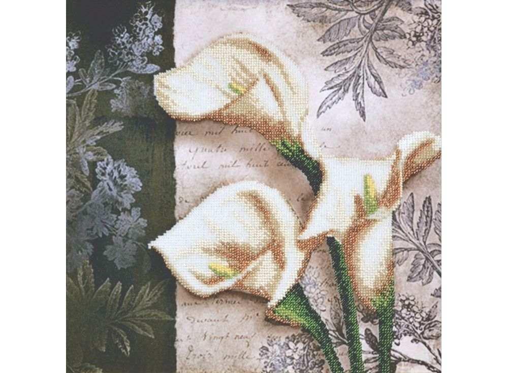 Набор  вышивки бисером «Белые каллы»Вышивка бисером Овен<br><br><br>Артикул: 002-РТ<br>Основа: габардин<br>Размер: 30х30 см<br>Техника вышивки: бисер<br>Количество цветов: 8<br>Заполнение: Частичное<br>Рисунок на канве: нанесён рисунок и схема<br>Техника: Вышивка бисером