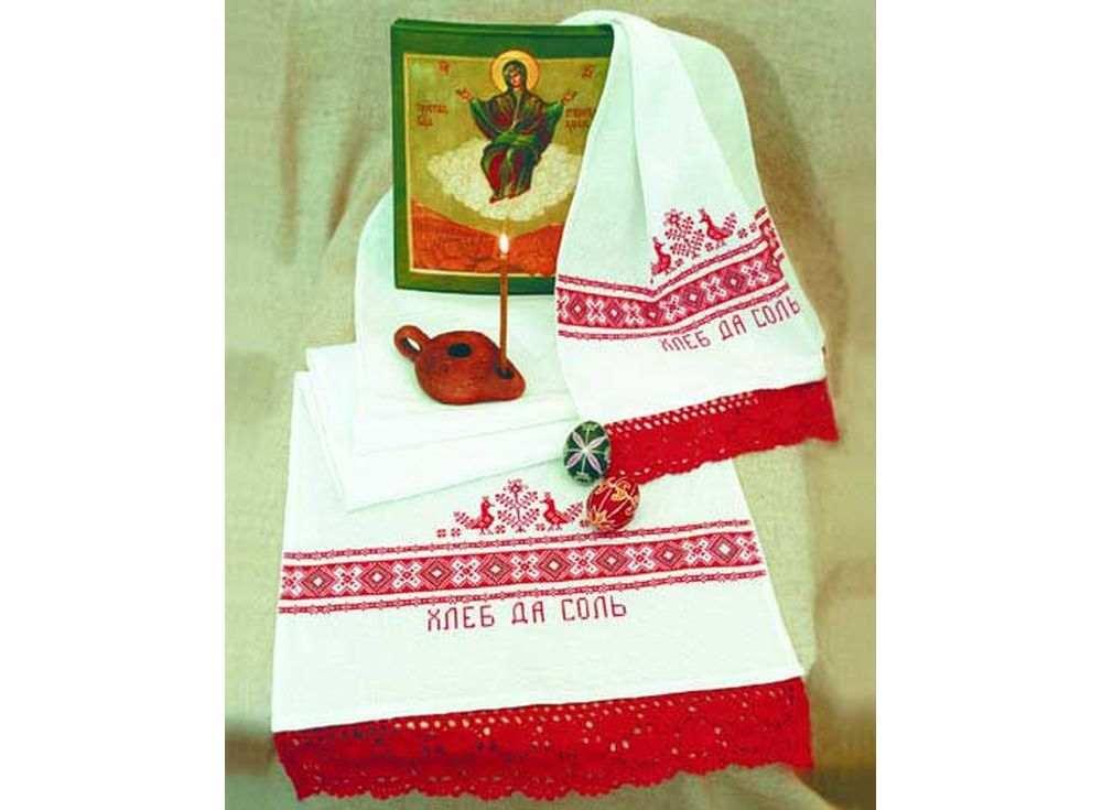 Набор для вышивания «Хлеб да соль»Вышивка крестом Овен<br><br><br>Артикул: 003(П)<br>Основа: рушниковая ткань со вставками канвы по краям белого цвета<br>Размер: 160х40 см<br>Техника вышивки: счетный крест<br>Тип схемы вышивки: Цветная схема<br>Цвет канвы: Белый<br>Количество цветов: 2<br>Заполнение: Частичное<br>Рисунок на канве: не нанесён<br>Техника: Вышивка крестом