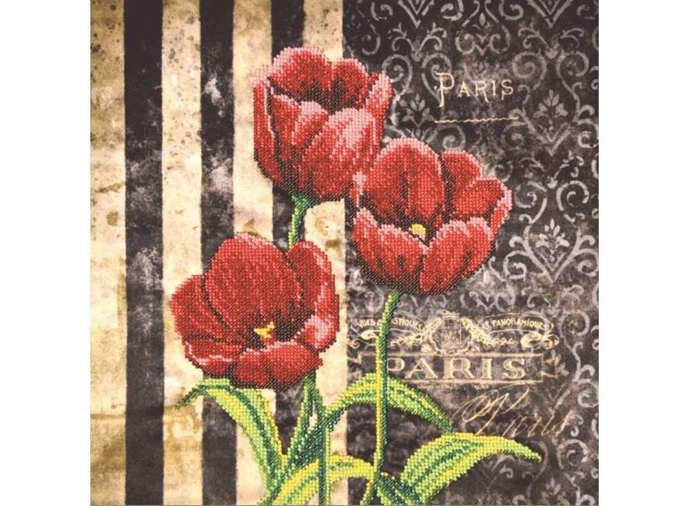 Набор  вышивки бисером «Красные тюльпаны»Вышивка бисером Овен<br><br><br>Артикул: 007-РТ<br>Основа: габардин<br>Размер: 30х30 см<br>Техника вышивки: бисер<br>Количество цветов: 8<br>Заполнение: Частичное<br>Рисунок на канве: нанесён рисунок и схема<br>Техника: Вышивка бисером