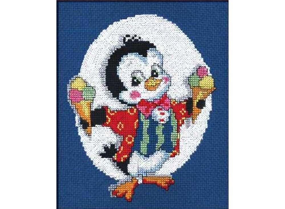 Набор для вышивания «Пингвин с мороженым»Вышивка крестом Овен<br><br><br>Артикул: 071<br>Основа: канва Aida 14<br>Размер: 15х18 см<br>Техника вышивки: счетный крест<br>Тип схемы вышивки: Цветная схема<br>Цвет канвы: Синий<br>Количество цветов: 10<br>Заполнение: Частичное<br>Рисунок на канве: не нанесён<br>Техника: Вышивка крестом