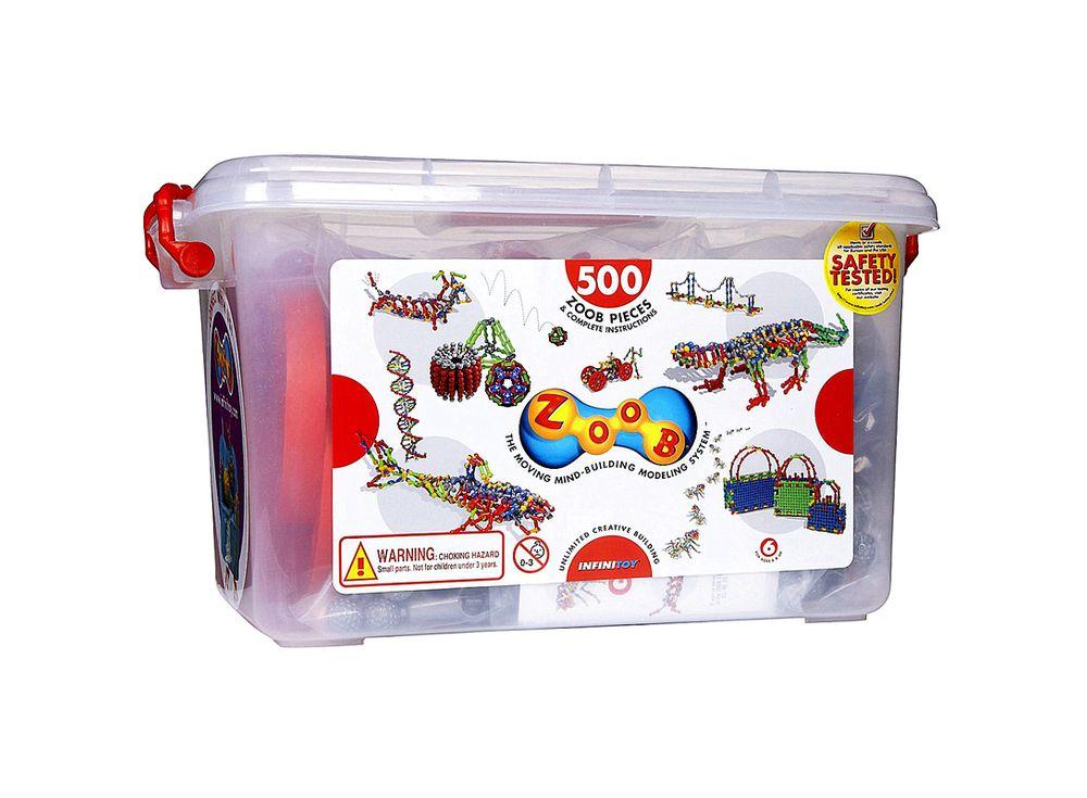 Конструктор ZOOB 500Пластиковые конструкторы ZOOB<br>ZOOB – необычный подвижный конструктор, завоевавший любовь родителей и детей во всем мире благодаря своим развивающим способностям и безграничным возможностям конструирования.<br> <br> Каждый набор состоит из прочных и приятных на ощупь деталей 5 видов, котор...<br><br>Артикул: 11500<br>Вес: 3300 г<br>Материал: Пластик<br>Размер деталей: 6 см<br>Возраст: от 6 лет