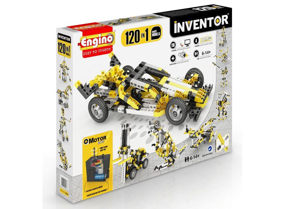 Конструктор Engino Набор из 120 моделей с моторомПластиковые конструкторы (Модели для сборки) Engino<br>Конструктор ENGINO Набор из 120 моделей с мотором, из серии INVENTOR, предназначен для юных изобретателей от 6 лет и старше. Из деталей набора с помощью пошаговой инструкции можно собрать по очереди 120 различных моделей, которые можно привести в движение...<br><br>Артикул: 12030<br>Вес: 1307 г<br>Серия: INVENTOR<br>Материал: Пластик<br>Размер упаковки: 37x49x7 см<br>Возраст: от 6 лет