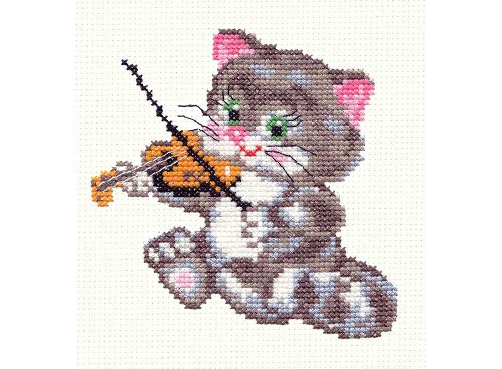 Набор для вышивания «Котенок-музыкант»Вышивка крестом Чудесная игла<br><br><br>Артикул: 15-06<br>Основа: канва Aida 14, 100 % хлопок<br>Сложность: легкие<br>Размер: 11х12 см<br>Техника вышивки: счетный крест<br>Тип схемы вышивки: Цветная схема вышивки<br>Цвет канвы: Белый<br>Количество цветов: 11