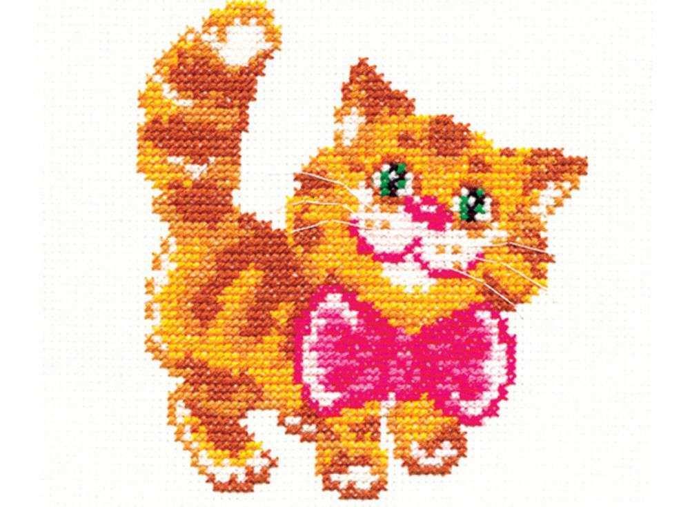 Набор для вышивания «Котик»Вышивка крестом Чудесная игла<br><br><br>Артикул: 15-07<br>Основа: канва Aida 14 (хлопок)<br>Сложность: легкие<br>Размер: 12х10 см<br>Техника вышивки: счетный крест<br>Тип схемы вышивки: Цветная схема<br>Цвет канвы: Белый<br>Количество цветов: 8<br>Игла: № 24<br>Рисунок на канве: не нанесён<br>Техника: Вышивка крестом<br>Нитки: мулине 100% хлопок Gamma