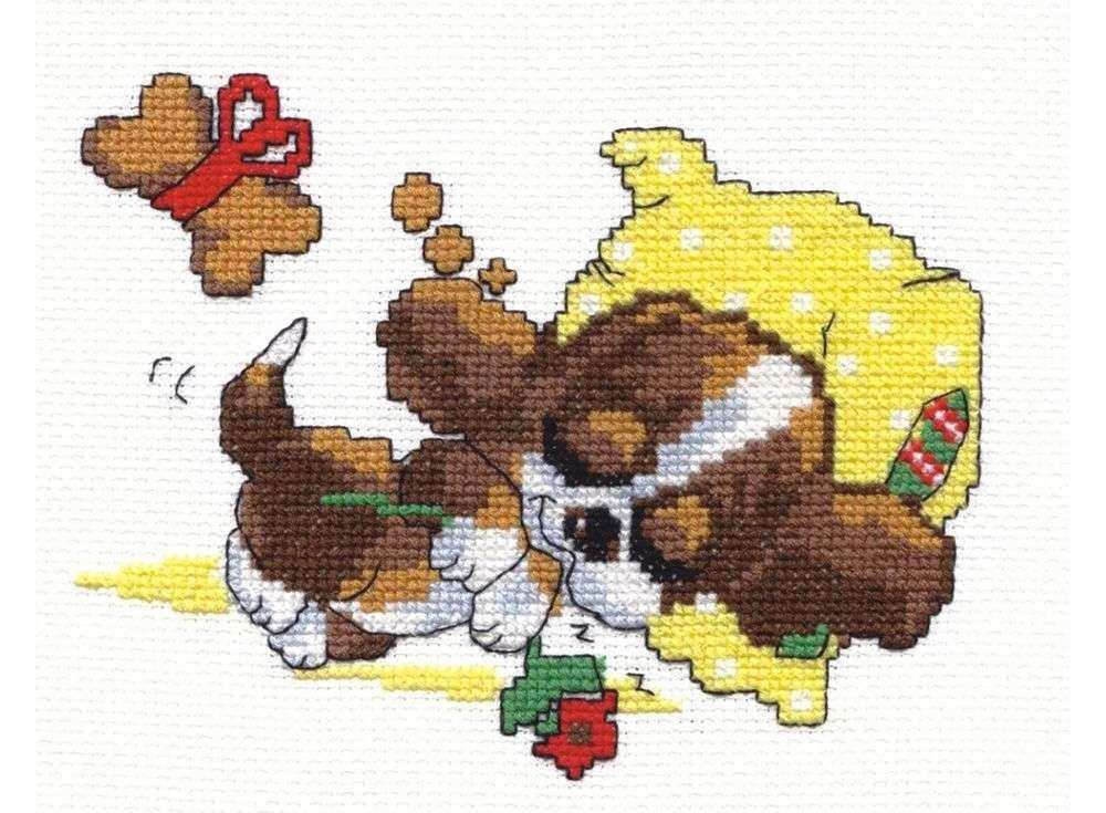 Набор для вышивания «Сладкие сны»Вышивка крестом Чудесная игла<br><br><br>Артикул: 16-10<br>Основа: канва Aida 14 (хлопок)<br>Сложность: легкие<br>Размер: 15х13 см<br>Техника вышивки: счетный крест<br>Тип схемы вышивки: Цветная схема<br>Цвет канвы: Белый<br>Количество цветов: 9<br>Игла: № 24<br>Рисунок на канве: не нанесён<br>Техника: Вышивка крестом<br>Нитки: мулине 100% хлопок Чудесная игла