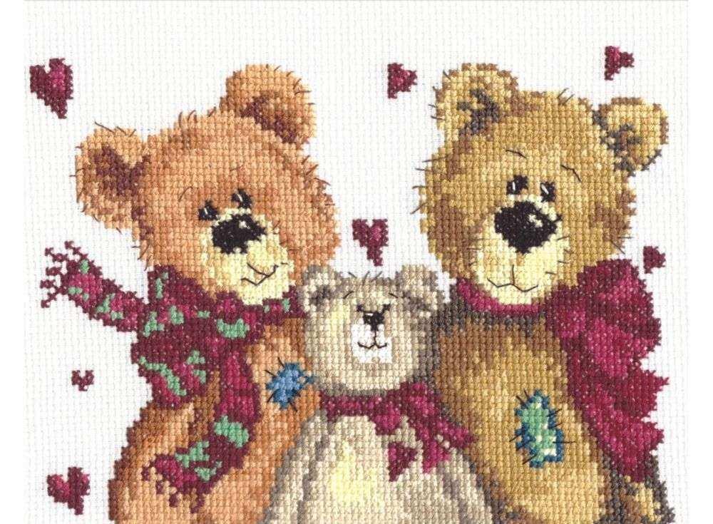 Набор для вышивания «Три медведя»Вышивка крестом Чудесная игла<br><br><br>Артикул: 17-06<br>Основа: канва Aida 14 (лен)<br>Сложность: легкие<br>Размер: 18х14 см<br>Техника вышивки: счетный крест<br>Тип схемы вышивки: Цветная схема<br>Цвет канвы: Льняной<br>Количество цветов: 20<br>Игла: № 24<br>Рисунок на канве: не нанесён<br>Техника: Вышивка крестом<br>Нитки: мулине 100% хлопок Чудесная игла
