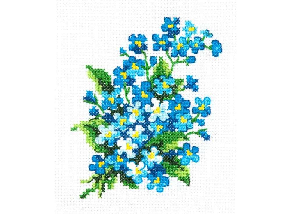 Набор для вышивания «Незабудки»Вышивка крестом Чудесная игла<br><br><br>Артикул: 28-06<br>Основа: канва Aida 14 (хлопок)<br>Сложность: легкие<br>Размер: 10х11 см<br>Техника вышивки: счетный крест<br>Тип схемы вышивки: Цветная схема<br>Цвет канвы: Белый<br>Количество цветов: 9<br>Игла: № 24<br>Рисунок на канве: не нанесён<br>Техника: Вышивка крестом<br>Нитки: мулине 100% хлопок Gamma