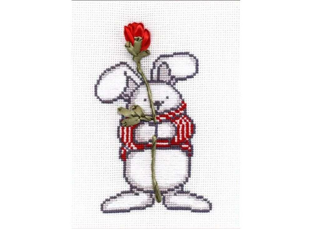 Набор для вышивания «Кролик Валентин»Вышивка смешанной техникой Овен<br><br><br>Артикул: 481<br>Основа: канва Aida 14<br>Размер: 10х15 см<br>Техника вышивки: счетный крест+ленты<br>Тип схемы вышивки: Цветная схема<br>Цвет канвы: Белый<br>Количество цветов: мулине: 4 цвета, лента: 2 цвета<br>Заполнение: Частичное<br>Рисунок на канве: не нанесён<br>Техника: Смешанная техника