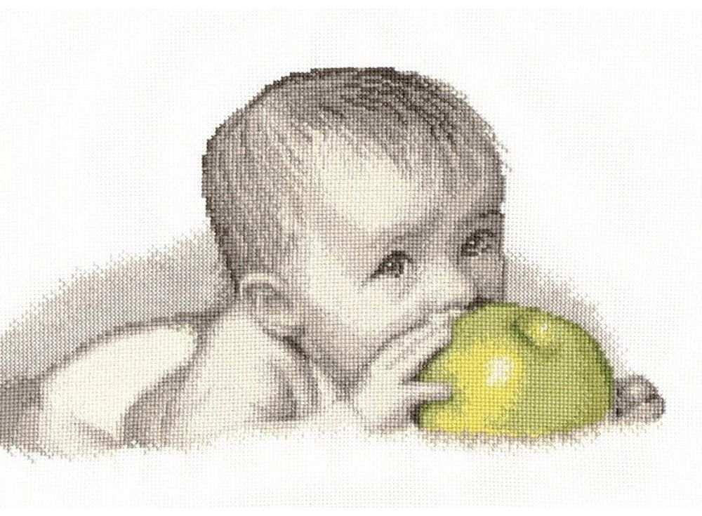 Набор для вышивания «Малыш с яблоком»Вышивка крестом Овен<br><br><br>Артикул: 511<br>Основа: канва Aida 14<br>Размер: 30х20 см<br>Техника вышивки: счетный крест<br>Тип схемы вышивки: Цветная схема<br>Цвет канвы: Белый<br>Количество цветов: 11<br>Заполнение: Частичное<br>Рисунок на канве: не нанесён<br>Техника: Вышивка крестом