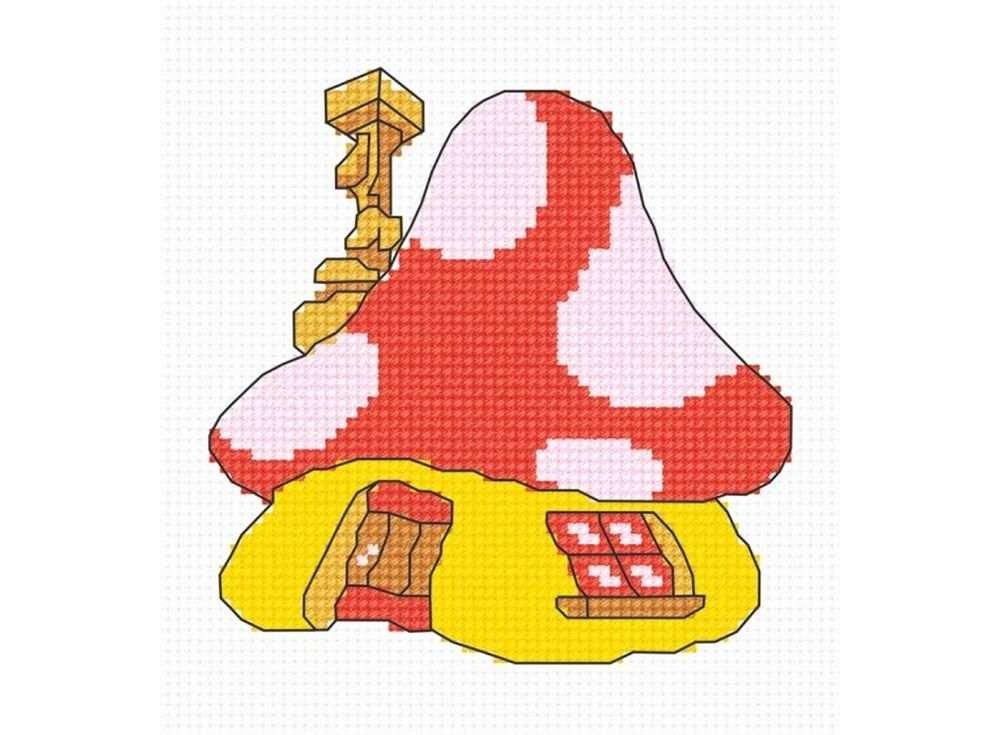 Набор для вышивания «Домик-грибок»Вышивка крестом Овен<br><br><br>Артикул: 578<br>Основа: канва Aida 14<br>Размер: 10х10 см<br>Техника вышивки: счетный крест<br>Тип схемы вышивки: Цветная схема вышивки<br>Цвет канвы: Белый<br>Количество цветов: 6<br>Заполнение: Частичное