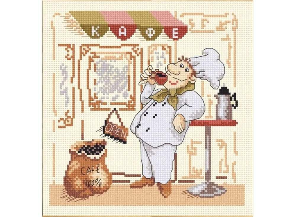 Набор для вышивания «Веселый повар-1»Вышивка крестом Овен<br><br><br>Артикул: 589<br>Основа: канва Aida 14<br>Размер: 20х20 см<br>Техника вышивки: счетный крест<br>Тип схемы вышивки: Цветная схема<br>Цвет канвы: Желтый<br>Количество цветов: 12<br>Заполнение: Частичное<br>Рисунок на канве: не нанесён<br>Техника: Вышивка крестом