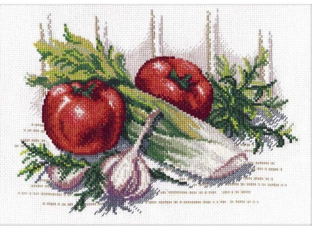 Набор для вышивания «Овощное ассорти»Вышивка крестом Овен<br><br><br>Артикул: 593<br>Основа: канва Aida 14<br>Размер: 28х19 см<br>Техника вышивки: счетный крест<br>Тип схемы вышивки: Цветная схема<br>Цвет канвы: Белый<br>Количество цветов: 20<br>Заполнение: Частичное<br>Рисунок на канве: не нанесён<br>Техника: Вышивка крестом