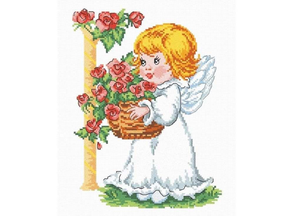 Набор для вышивания «Ангелочек с корзиной роз»Вышивка крестом Овен<br><br><br>Артикул: 628<br>Основа: канва Aida 14<br>Размер: 19х25 см<br>Техника вышивки: счетный крест<br>Тип схемы вышивки: Цветная схема<br>Цвет канвы: Белый<br>Количество цветов: 17<br>Заполнение: Частичное<br>Рисунок на канве: не нанесён<br>Техника: Вышивка крестом