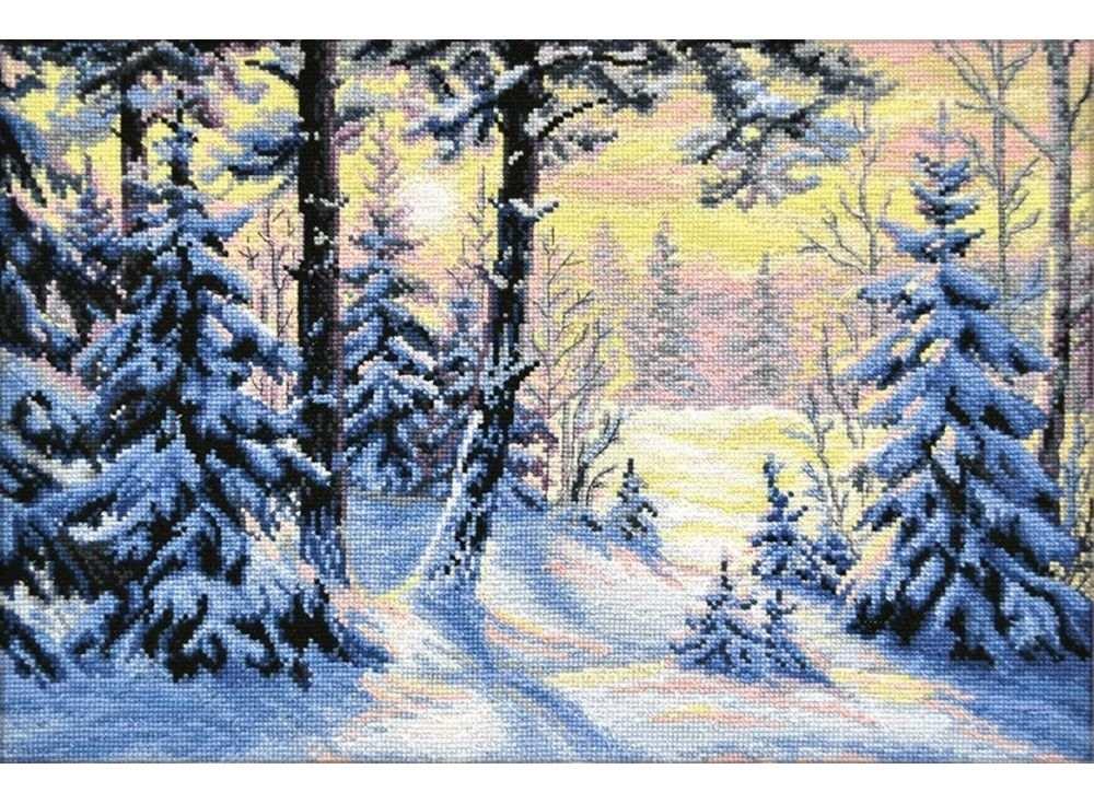 Набор для вышивания «Зимний лес»Вышивка крестом Овен<br><br><br>Артикул: 698<br>Основа: канва Aida 14<br>Размер: 40х27 см<br>Техника вышивки: счетный крест<br>Тип схемы вышивки: Цветная схема<br>Цвет канвы: Белый<br>Количество цветов: 20<br>Заполнение: Полное<br>Рисунок на канве: не нанесён<br>Техника: Вышивка крестом