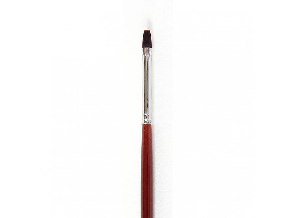 Кисть синтетическая «Осень» плоская №0Аксессуары для рисования картин по номерам<br>Кисть Малевичъ (серия «Осень») - имеет синтетический ворс средней мягкости, отлично подходит для тонкой работы с акрилом, маслом и темперой. <br> <br> Длина ручки: березовая ручка длиной 18 см покрыта глянцевым темно-красным лаком<br> Обойма: цельнотянутая, диа...<br><br>Артикул: 700000