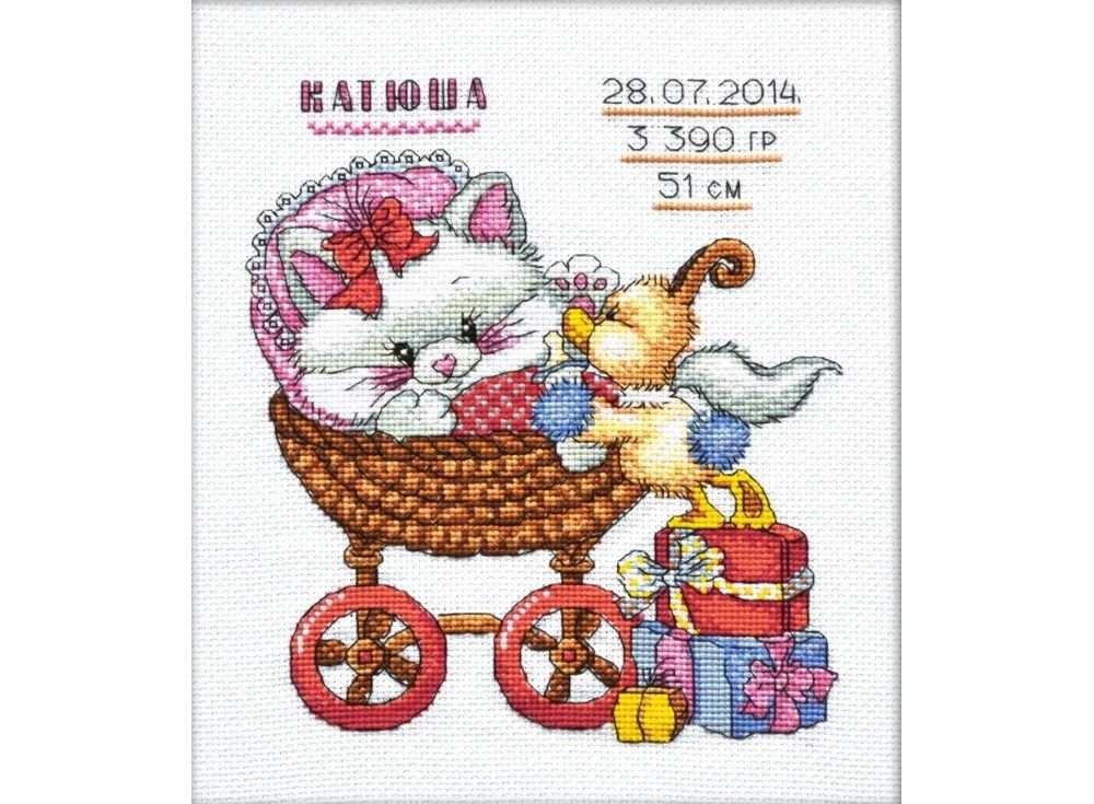 Набор для вышивания «Метрика с котенком»Вышивка крестом Овен<br><br><br>Артикул: 713<br>Основа: канва Aida 14<br>Размер: 18х21 см<br>Техника вышивки: счетный крест<br>Тип схемы вышивки: Цветная схема<br>Цвет канвы: Белый<br>Количество цветов: 15<br>Заполнение: Частичное<br>Рисунок на канве: не нанесён<br>Техника: Вышивка крестом