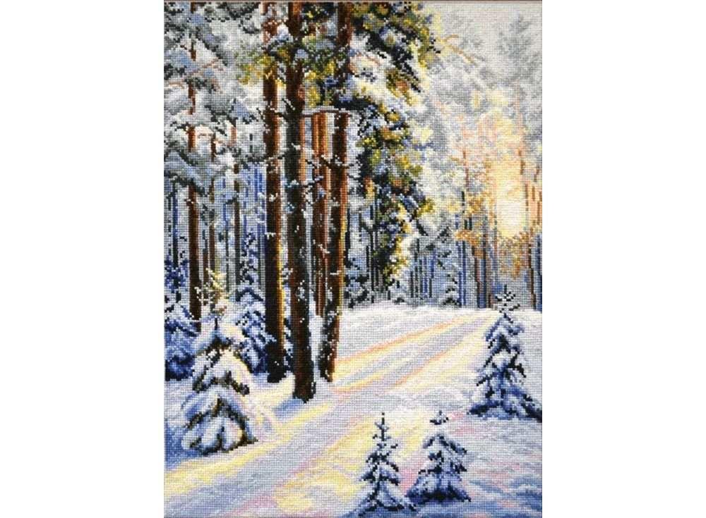 Набор для вышивания «Зимняя дорога»Вышивка крестом Овен<br><br><br>Артикул: 727<br>Основа: канва Aida 14<br>Размер: 30х40 см<br>Техника вышивки: счетный крест<br>Тип схемы вышивки: Цветная схема<br>Цвет канвы: Белый<br>Количество цветов: 27<br>Заполнение: Полное<br>Рисунок на канве: не нанесён<br>Техника: Вышивка крестом