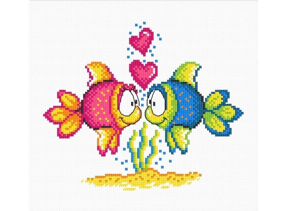 Набор для вышивания «Влюбленные рыбки»Вышивка крестом Овен<br><br><br>Артикул: 732<br>Основа: канва Aida 14<br>Размер: 18х15 см<br>Техника вышивки: счетный крест<br>Тип схемы вышивки: Цветная схема<br>Цвет канвы: Белый<br>Количество цветов: 9<br>Заполнение: Частичное<br>Рисунок на канве: не нанесён<br>Техника: Вышивка крестом