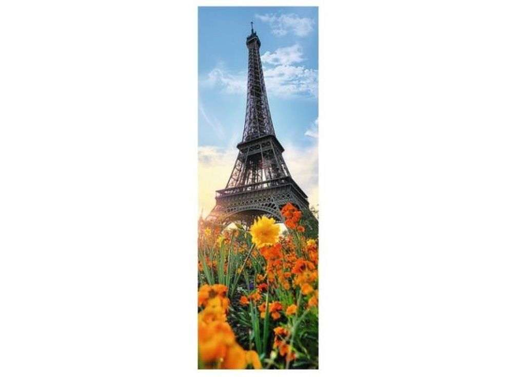 Пазлы «Эйфелева башня среди цветов»Trefl<br><br><br>Артикул: 75000<br>Размер: 16x48 см<br>Возраст: от 14 лет
